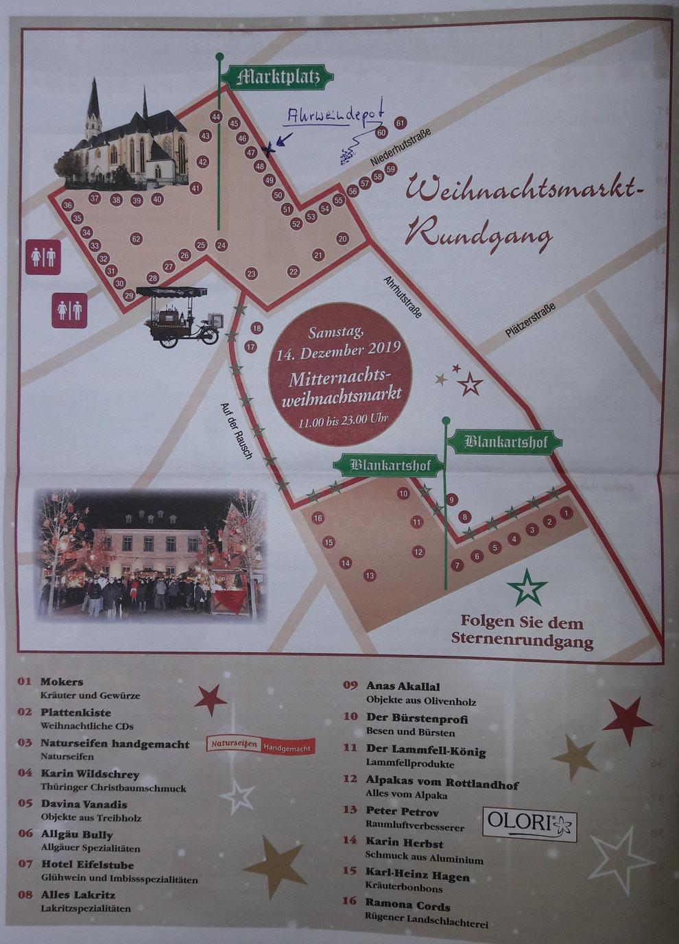 Der Lageplan über die Aussteller des Ahrweiler Weihnachtsmarktes.