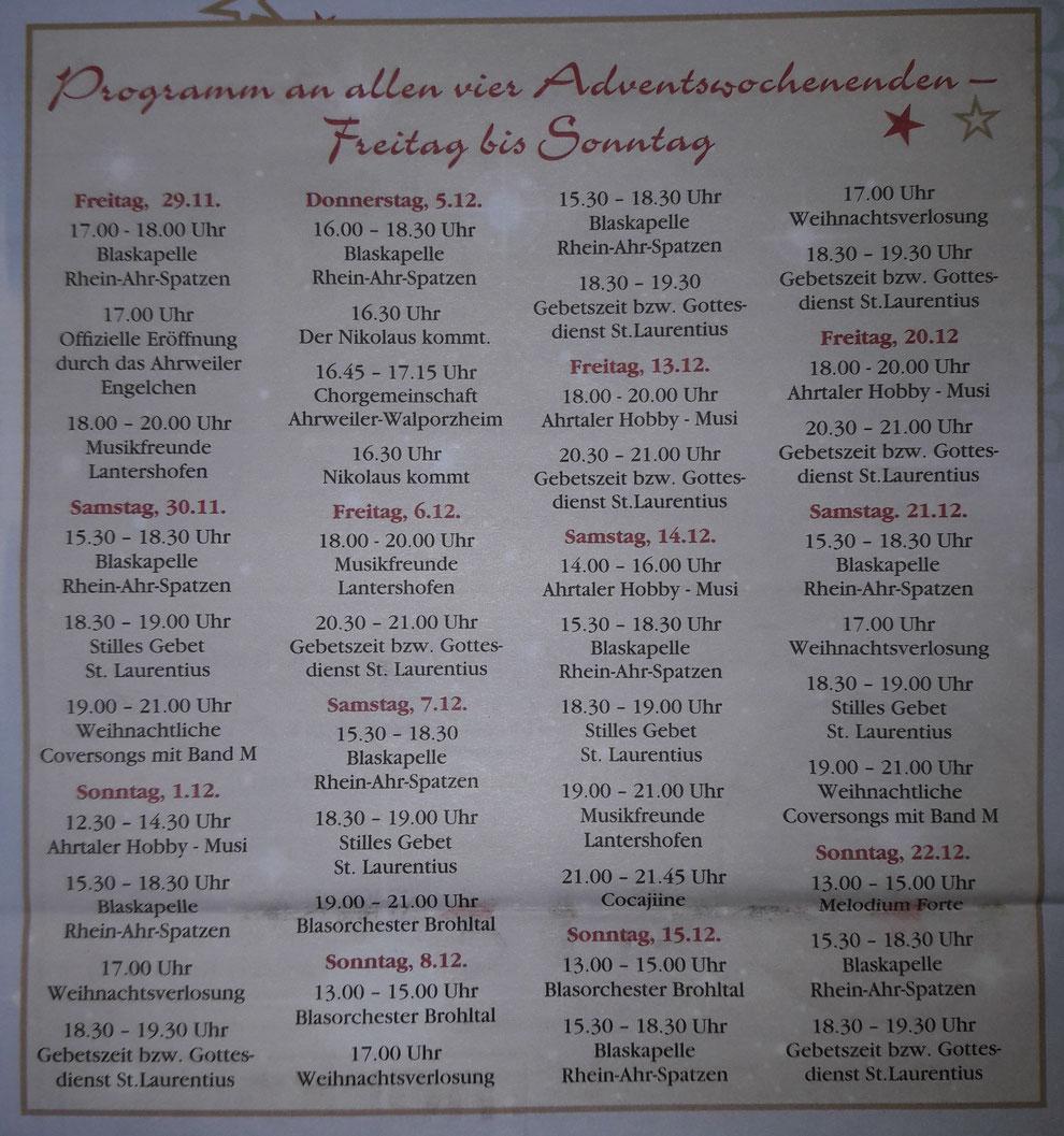 Hier erhalten Sie eine Programmübersicht auf dem Ahrweiler Weihnachtsmarkt.