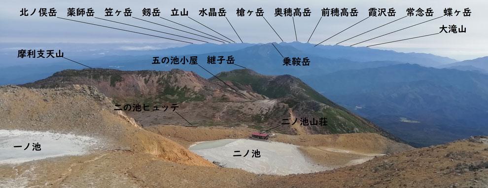 剣ヶ峰から北アルプス方面の展望