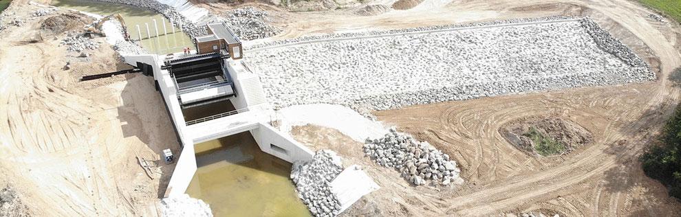 Vue aérienne de l'ouvrage pendant les travaux