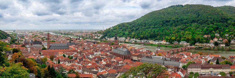 Panorama von Heidelberg mit einer schönen Aussicht vom Heidelberger Schloss aus
