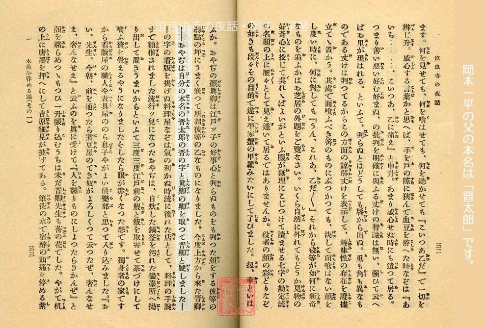 岡本一平の父の本名は晋太郎