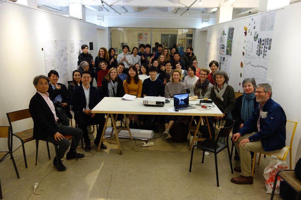 最終プレゼン後の集合写真。当研究室に在籍していたラヴィレットの生徒もちらほら。