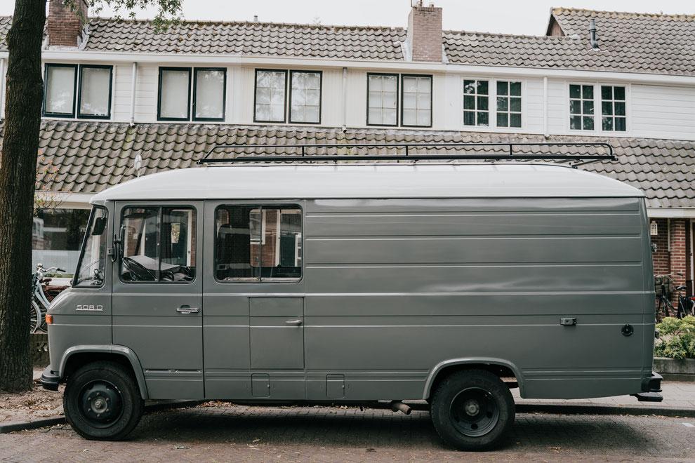 van life with Bodhi 1977 Mercedes 508d camper