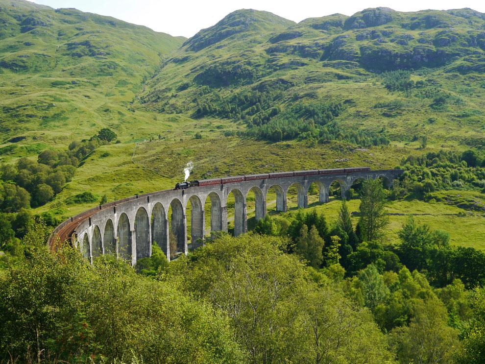 """The Jacobite / """"Hogwarts-Express"""" auf dem Glenfinnan-Viadukt aus den Harry Potter-Filmen"""