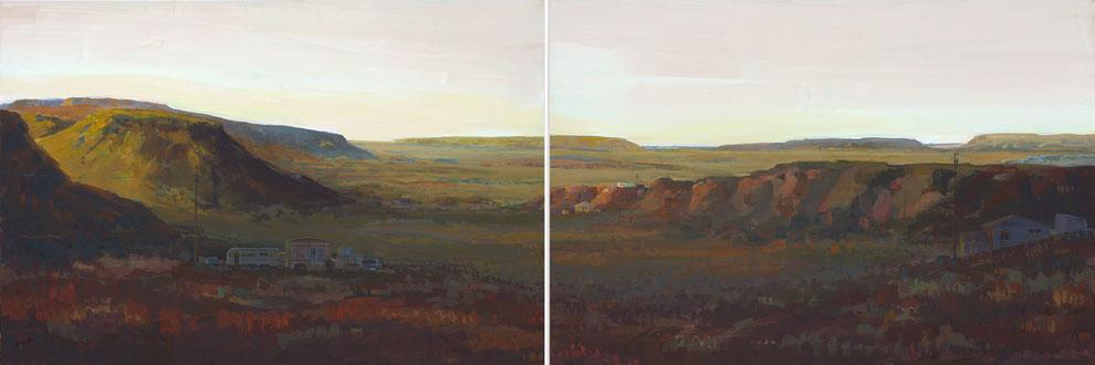 Hopi Land 2009 Diptychon Tempera auf Nessel 80 x 240 cm