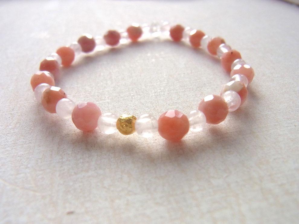 Edelsteinarmband mit Rosenquarz und rosa Andenopal Steinen
