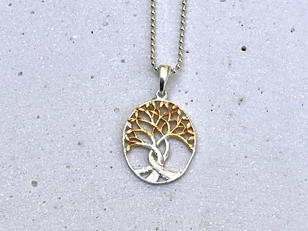 Kette mit ovalem Baum des Lebens Symbol Anhänger aus 925 Silber und vergoldetem Silber