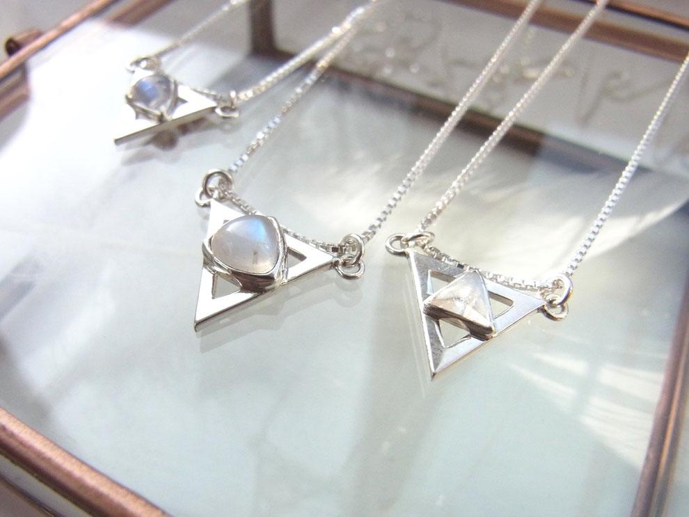 Ketten mit Dreieck Mondstein Anhänger aus Sterling Silber