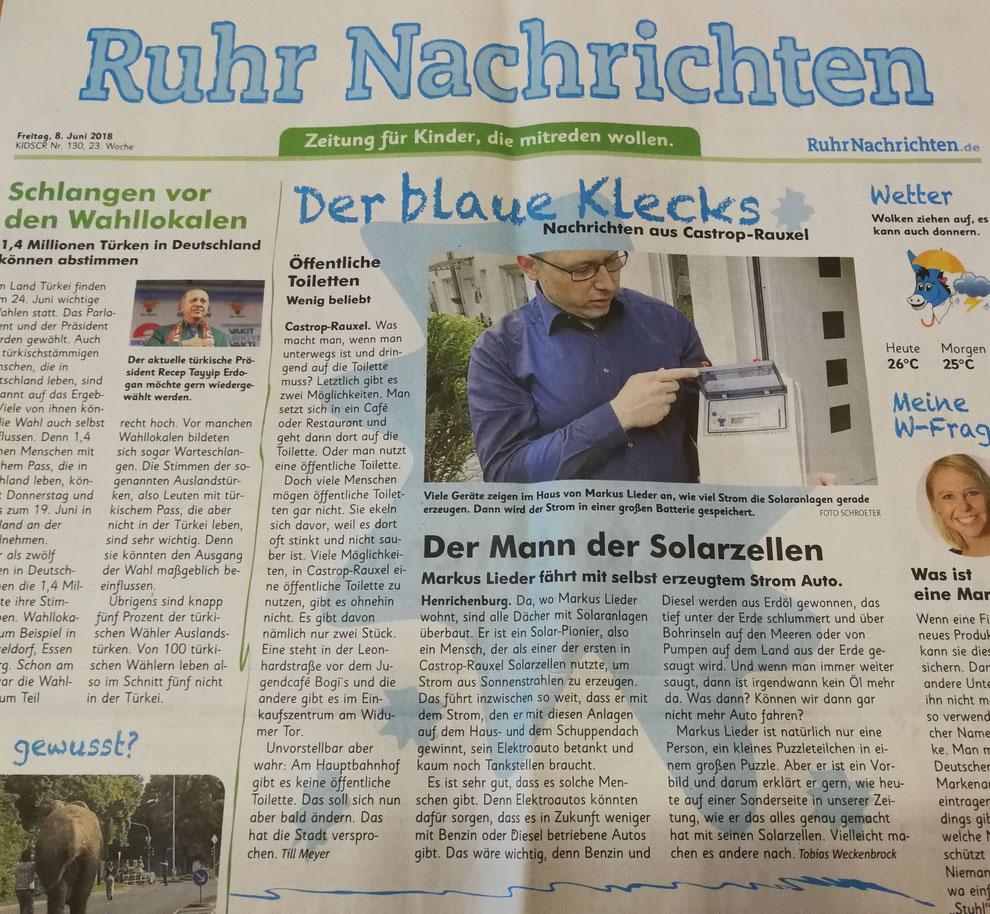 Ruhr Nachrichten Zeitungsartikel vom 08. Juni 2018 Der blaue Klecks: Der Mann der Solarzellen, Markus Lieder fährt mit selbst erzeugtem Strom Auto.