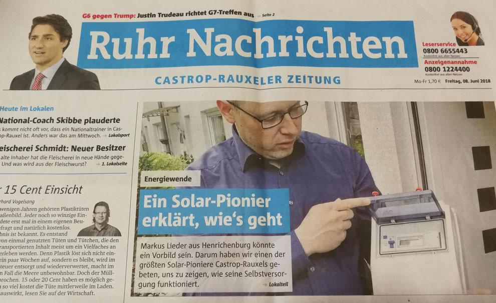 Ruhr Nachrichten Zeitungsartikel vom 08. Juni 2018 Energiewende: Ein Solar-Pionier erklärt, wie´s geht