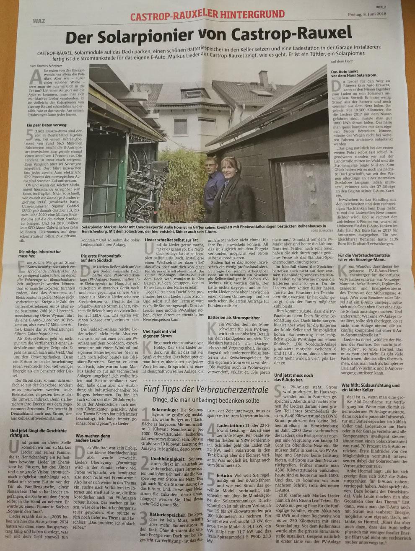 WAZ Zeitungsartikel vom 08. Juni 2018: Der Solarpionier von Castrop-Rauxel