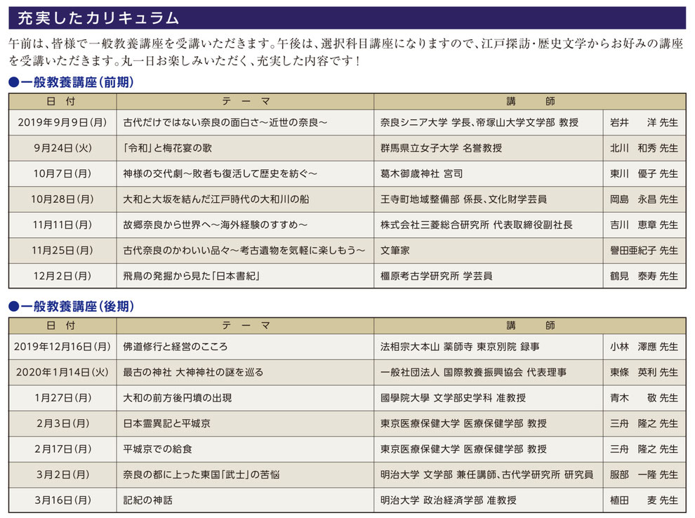 奈良シニア大学in東京カリキュラム