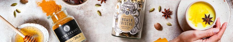Ankerkraut Trinken - Gewürzen und Gewürzmischungen, Goldene Milch, Tees, ... copyright Ankerkraut