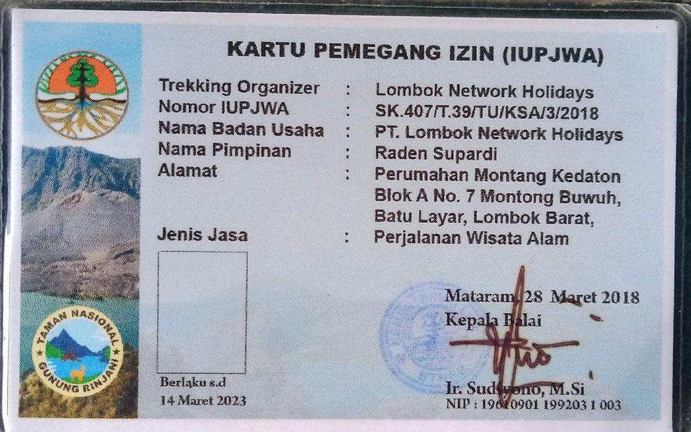 Trek organizer license
