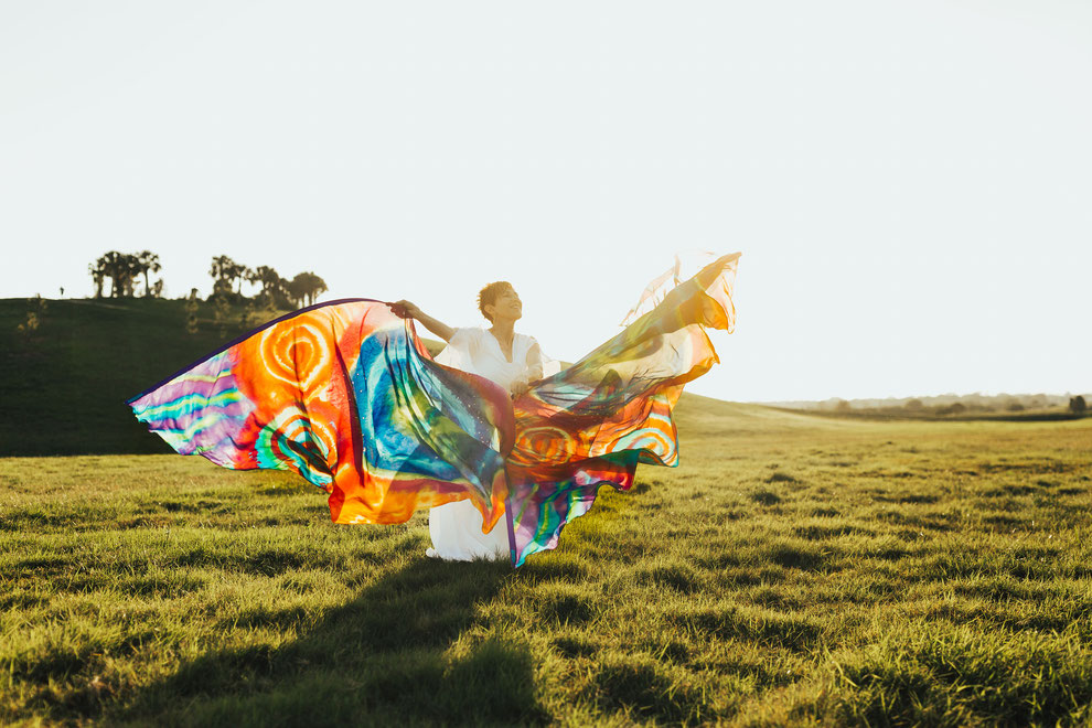 Colorful, fabulous wing-shaped flags hand dyed on silk
