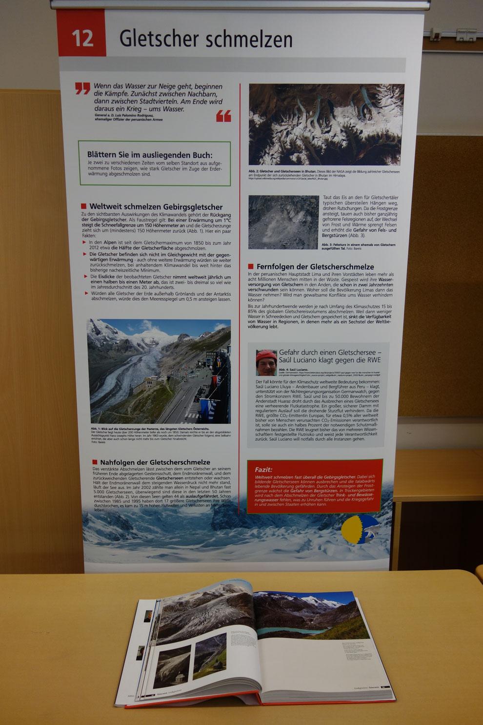 Das Buch zeigt u. a. die Pasterze, den größten Gletscher Österreichs, vom gleichen Standort aus mit einem Zeitunterschied von 70 Jahren.