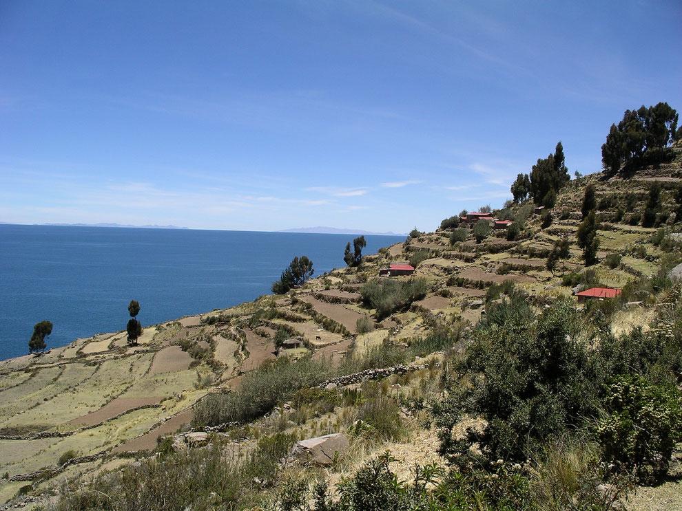 Die Insel Taquile im Titicacasee ist in ca. 3 Stunden von Puno mit dem Boot zu erreichen - buchbar bei PERUline