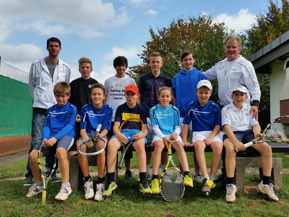 Das Bild zeigt alle Spieler der Endrunde mit Jochen Schier (2. Jugendwart) und Alex Gilles (1. Vorstand).