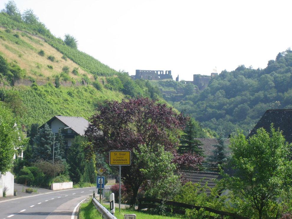 In Gründelbach mit Blick auf Burg Rheinfels, St. Goar (Rhein)