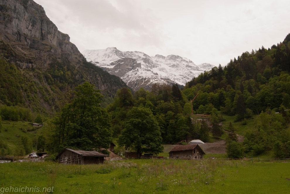 Ausblick von Stechelberg aus auf die Berner Alpen