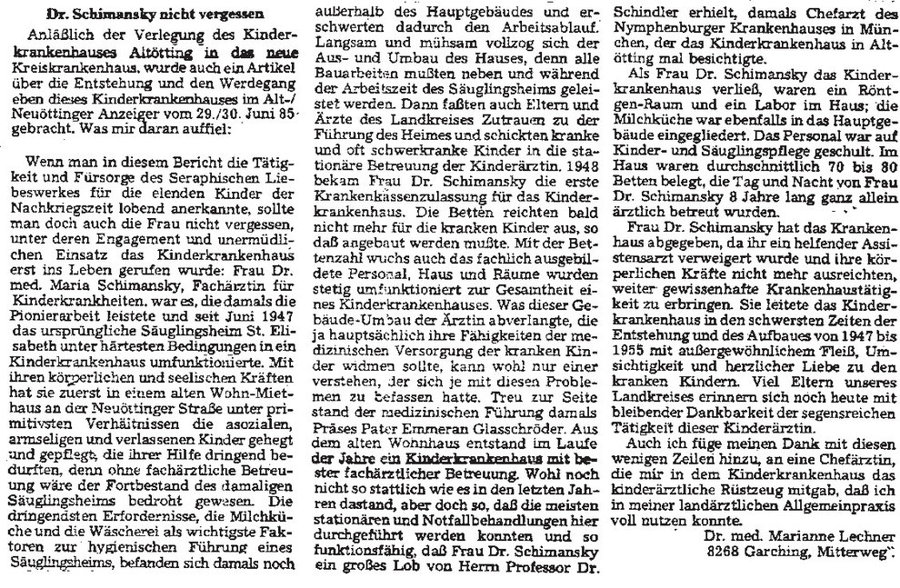 Leserbrief im Alt- Neuöttinger Anzeiger vom 13.07.1985