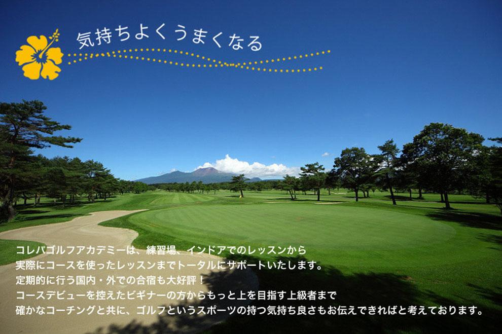 コレパゴルフアカデミーは、練習場、インドアでのレッスンから実際にコースを使ったレッスンまでトータルにサポートいたします。定期的に行う国内・外での合宿も大好評!コースデビューを控えたビギナーの方からもっと上を目指す上級者まで確かなコーチングと共に、ゴルフというスポーツの持つ気持ち良さをお伝えできればと考えております。
