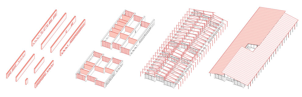Structural axonometric drawing. Architecture concept for a preschool in Mozambique. Sustainable and earth based built with clay and wood. Flexible, inclusive and community based spaces.