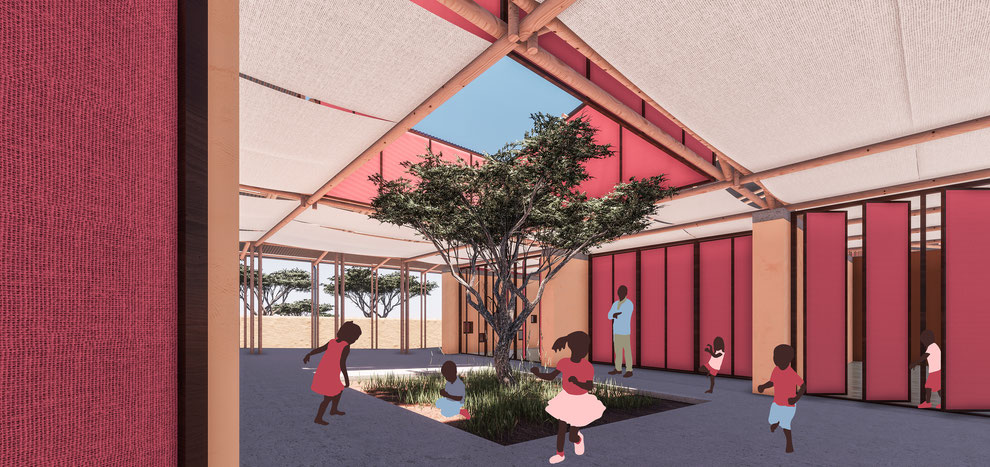 Perspective rendering. Architecture concept for a preschool in Mozambique. Sustainable and earth based built with clay and wood. Flexible, inclusive and community based spaces.