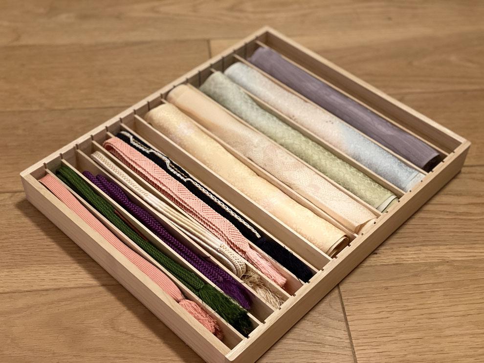 着物_帯揚げ・帯締めの収納。日本製 本桐使用 小物収納ケースにスッキリ収納!