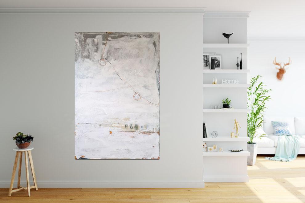 weißes Gemälde - Abstrakte Malerei