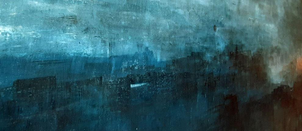 gemaltes abstraktes bild in Blau - Auf Bootstour