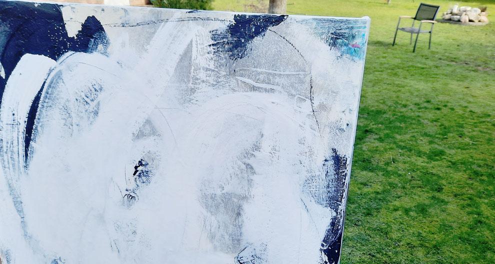 Landschaftsbild grau 120 x 120 cm