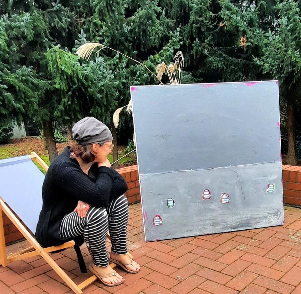 Künstlerin und Gemälde