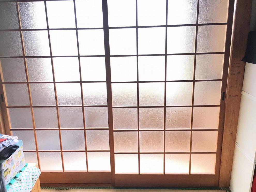 工事前の引戸、室内側からの写真