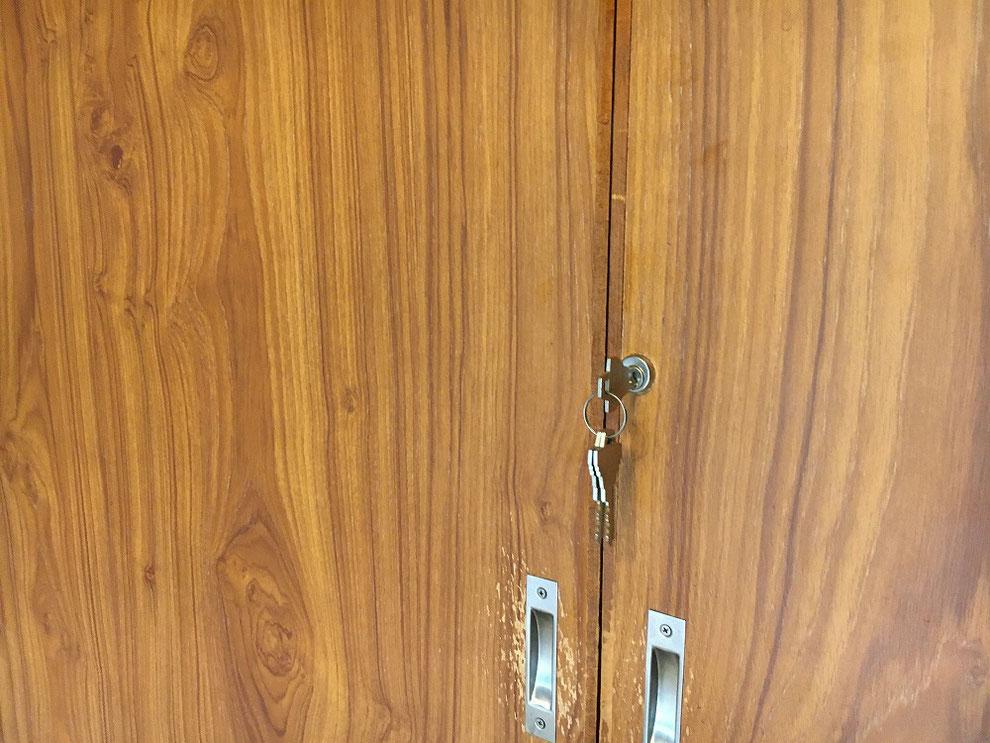 引戸(襖)に鍵を付けたところ(室外側)