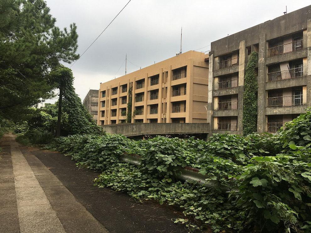 八階建てアパート裏側