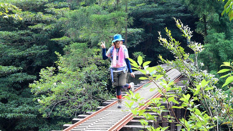 縄文杉からの帰り道。トロッコ道にて。女子旅(縄文杉トレッキングガイドツアー)