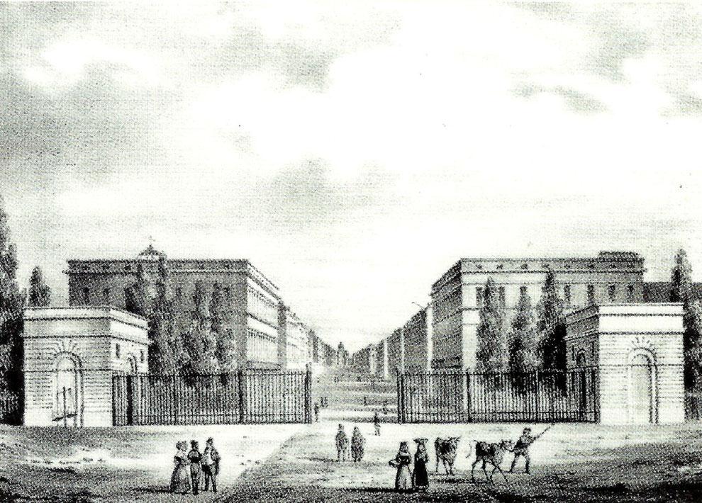 L'hôtel Meeûs, à la porte de Schaerbeek. Cet hotel fut détruit lors des journées de septembre 1830 par la populace, à laquelle on avait réussi à faire croire que Ferdinand de Meeûs était orangiste.