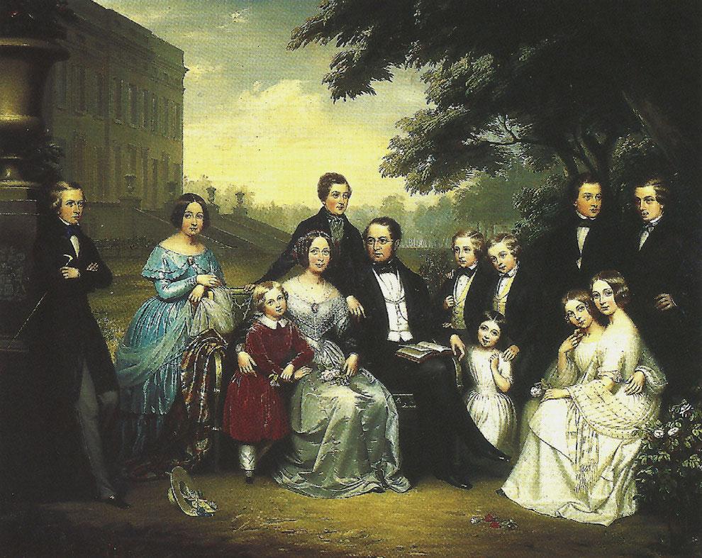 A gauche : Le comte et la comtesse de Meeûs et leur onze enfants devant le premier château d'Argenteuil qu'ils venaient de faire construire et qui flamba peu après en 1847.