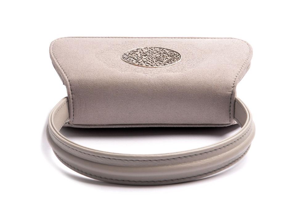 Edle Trachtentasche EMMA grau  Handarbeit aus der  Ledermanufaktur OSTWALD Tradition