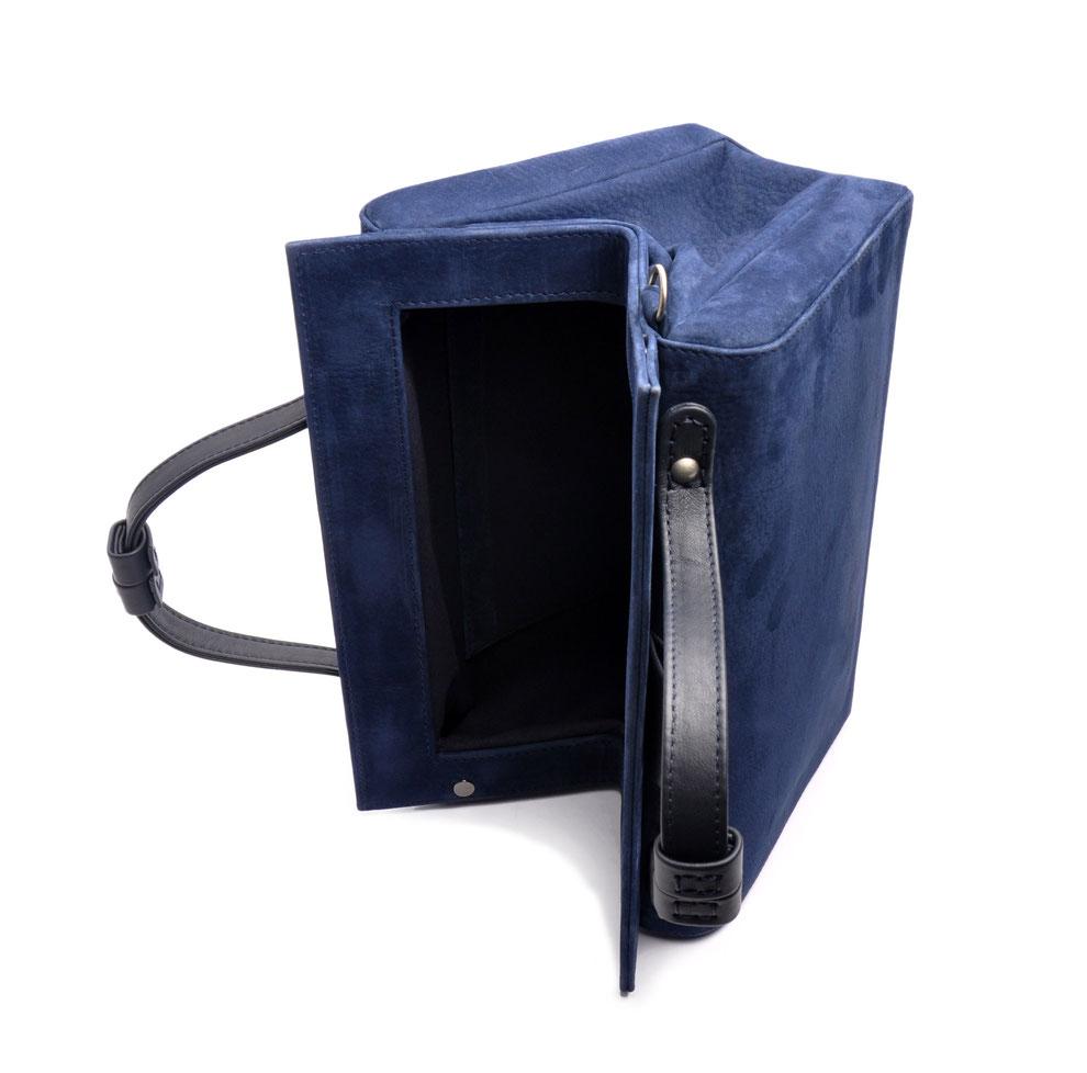 Damen Ledertasche Retro Look ESTELLE blau  OSTWALD Traditional Craft