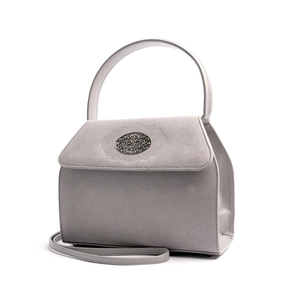 Dirndltasche  Henkeltasche EMMA grau mit Schmuckfiligran OSTWALD Traditional Craft