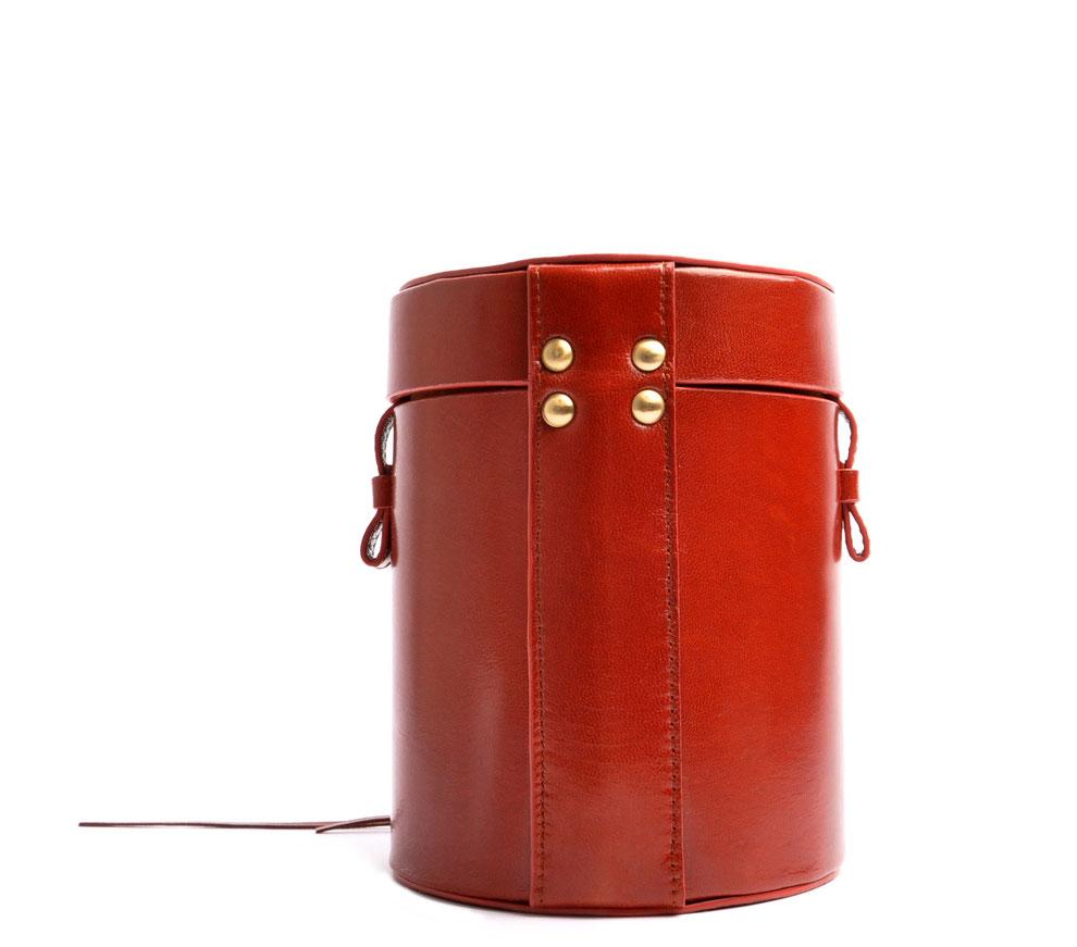 runde Schultertasche MARIE Vintagelook  Leder cognac OSTWALD Tradition