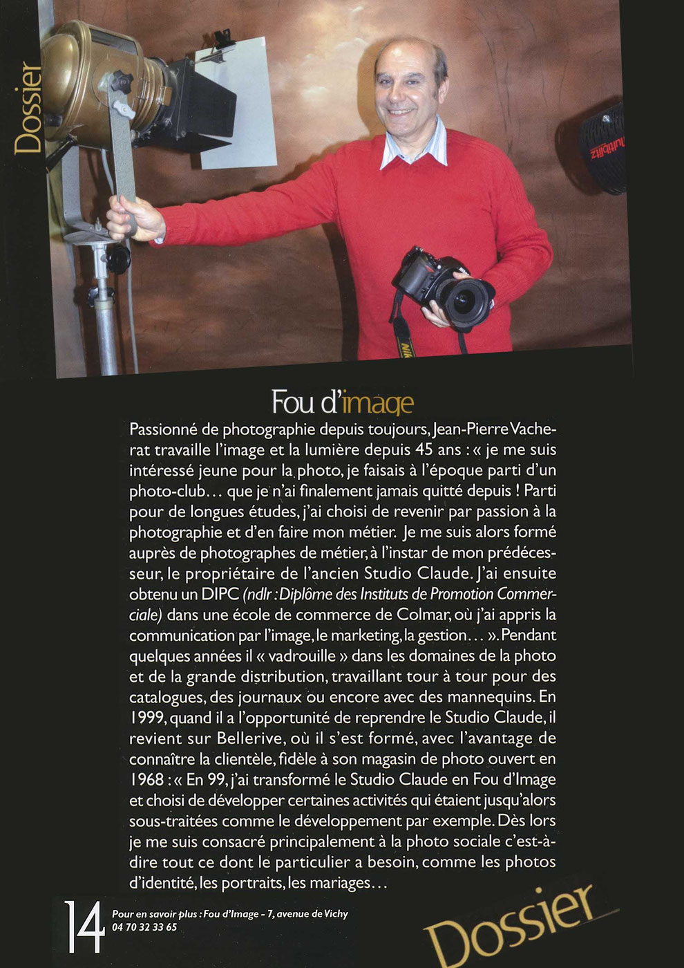 fou d'image studio de photographie avenue de vichy bellerive sur allier, presse magazine