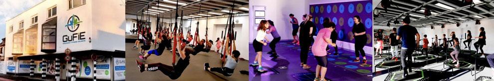 GuFiE Gebäude, 4D Pro Schlingentraining, PRAMA Interaktiver Zirkel, Jumping Fitness für Erwachsene, Kinder und Familien