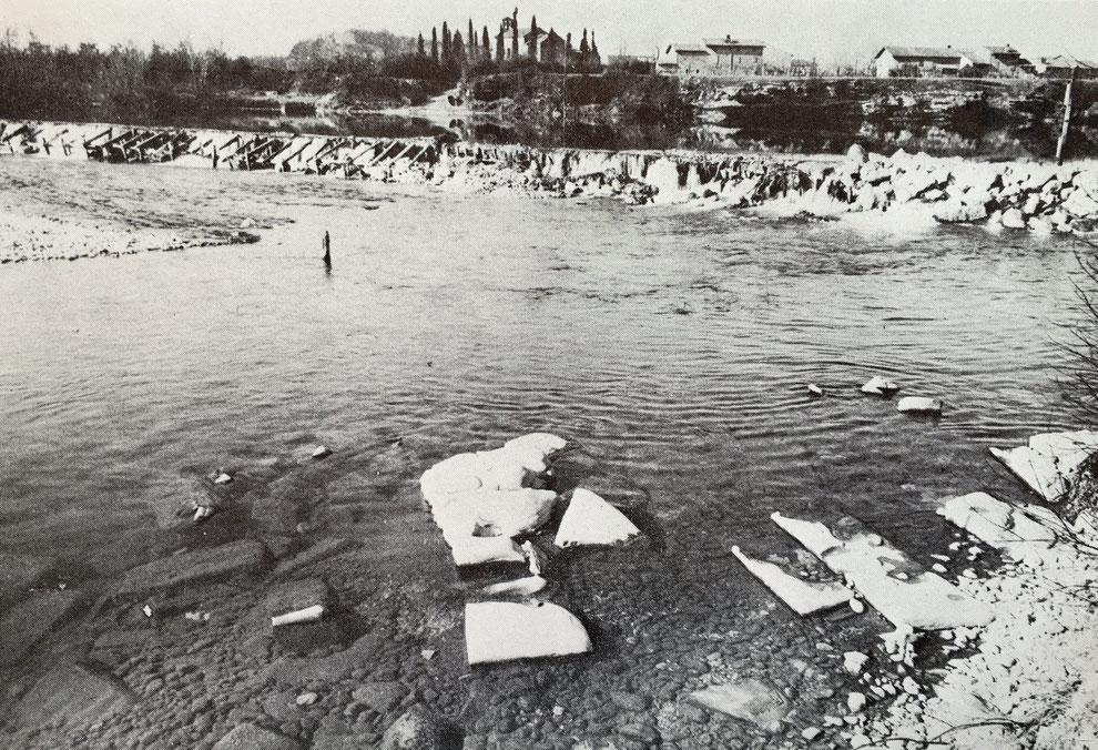 """Resti del """"pons Sontii"""", il ponte romano sull'Isonzo (anni Sessanta)"""