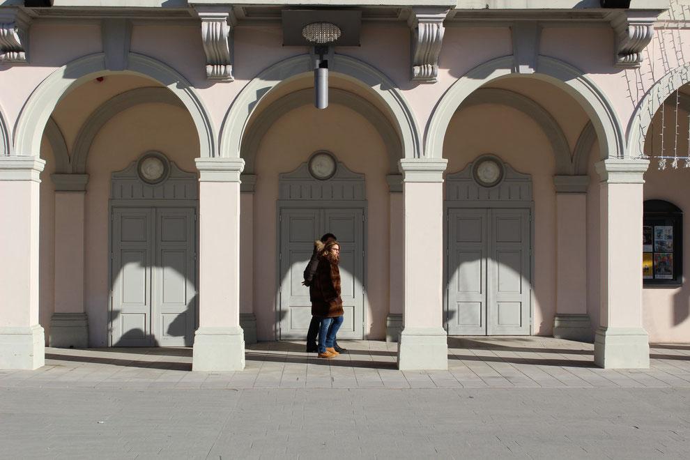 Gradisca d'Isonzo, i portici di piazza dell'Unità d'Italia