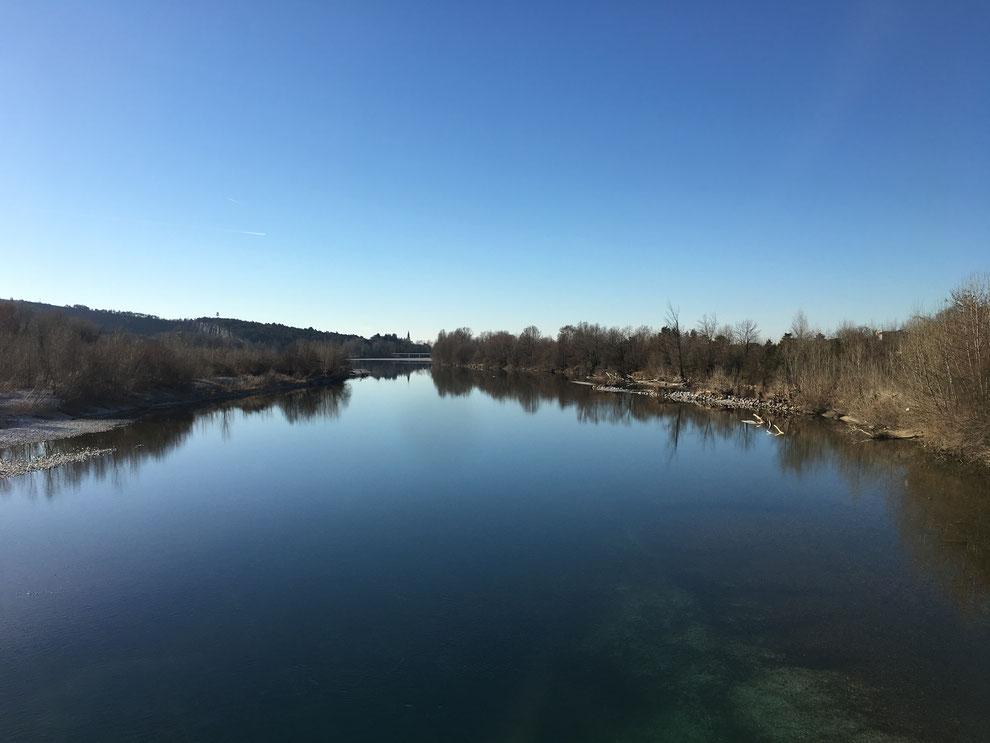 Gradisca d'Isonzo, il fiume Isonzo visto dalla passerella che collega Gradisca al Carso in direzione di Sagrado