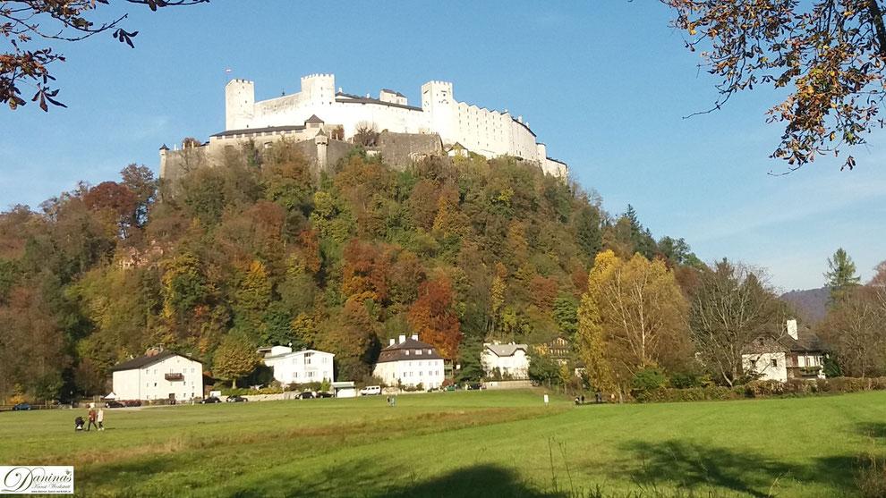 Salzburg, Festungsberg mit Festung Hohensalzburg (von Nonntal)
